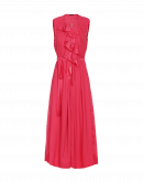 INVITE: Coral red crêpe wide leg jumpsuit with zip front