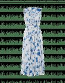 INVITE: Technischer Crêpe-Overall mit dunkelblauem Blumendruck auf Weiß