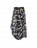 OUTSET: Printed tech chiffon and jersey draped skirt