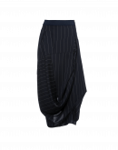 ENLIVEN: Multi-directional drape navy pinstripe skirt
