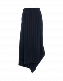 UNDULATE: Asymmetrically draped and folded pinstripe skirt