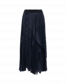 FANTASTIC: Multi-panel skirt in pleated technical satin, georgette and ribbon lace