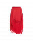 OUTSET: Red tech satin and georgette draped skirt