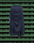 RAPTURE: Gonna arricciata e drappeggiata in crêpe blu navy con retro in raso