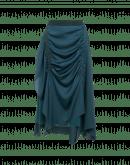 RAPTURE: Gonna arricciata e drappeggiata in crêpe verde petrolio con retro in raso