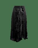 RHYME: Gonna multi-pannello in raso nero e velluto devoré