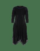 PRAISE: Black flock stripe jersey dress