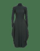 "AT LENGTH: Forest green pinstripe ""balloon"" dress"