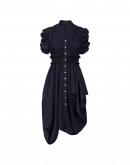 YEARNING: Navy dress with fitted bodice asymmetric hem