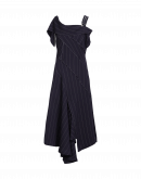 TEASE: Asymmetric navy pinstriped dress