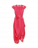 SPRINGTIDE: Coral red satin draped dress with ribbon tie-belt