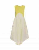 VERITY: Abito giallo in jersey e tessuto seersucker Vichy