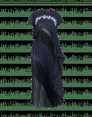 FIXATION: Kleid in blau und schwarz mit Drapierung und Plisseé