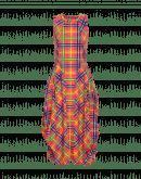 """AT-LENGTH: Orange, blue and green check print Sensitive® """"balloon"""" dress"""