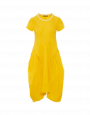 PRAISE: Short sleeve dress in bright yellow technical jersey