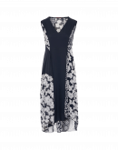 ELITIST: V-neck dress in navy crêpe and navy white floral mesh