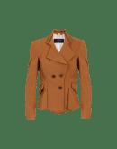 RUSKIN: Double breasted jacket in tan tech twill