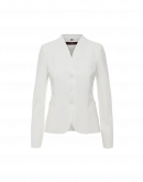 CHARISMATIC: Tailored V-neck jacket in ivory technical stretch jersey