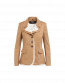 CONTRADICT: Giacca destrutturata in lana beige con dettaglio in tela
