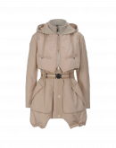 FULL BLAST: Pale powder pink parka with hooded gilet