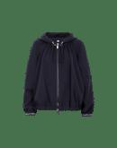 PROSPECT: Short, hooded blouson in navy tech jersey