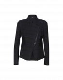 OBLIQUE: Stand collar jacket in navy, black and grey tech check