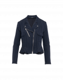 ROWDY: Giacca gessata blu navy in stile biker