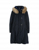 OUTSIDER: Navy padded parka with carrying straps