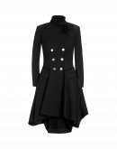 ACT-OUT: Fit and flare overcoat in black twill