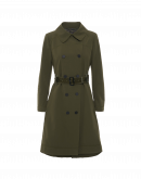 STATURE: Double breasted trench coat in army green technical twill