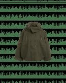 BLUSTER: Giacca-mantella a collo alto in twill tecnico spigato verde militare