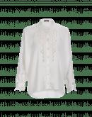 NICETY: White satin tuxedo shirt