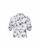 CHANCE: Camicia bianca in raso tecnico con motivo floreale blu