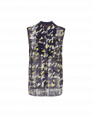 SYNOPSIS: Sleeveless printed shirt in tech chiffon and jersey
