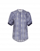 APT: Navy and white tech gingham short sleeve shirt