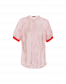 APT: Pink and white tech gingham short sleeve shirt