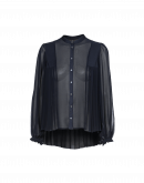 COMPLIMENT: Pleated shirt in navy georgette