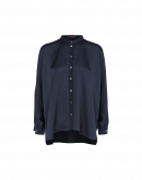 NICETY: Navy satin long tailed shirt