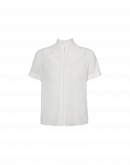 DIVERT: Blusa a maniche corte in crêpe avorio