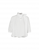 DELIGHT: Tie-neck shirt in ivory cotton