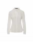 LIAISON: Shirt with stand collar and tie in ivory tech georgette