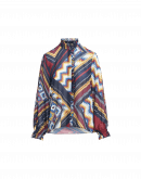 QUIZ: Camicia con rouche con stampa patchwork multicolore
