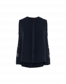 CONCERTINA: Sleeveless top in navy tech crêpe with full pleated back