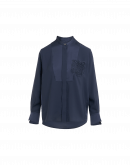 LEVEL UP: Camicia collo dritto in crêpe di raso tecnico