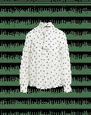 PERCEPTION: Camicia con collo annodabile in georgette nero a pois bianchi
