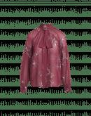 """PERCEPTION: Camicia con collo annodabile in georgette rosso bordeaux con stampa di foglie """"outline"""" avorio"""