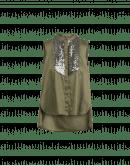 SYNOPSIS: Camicia senza maniche con pettorina in paillettes