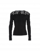 EMOTION: Black seamless top with crochet lace