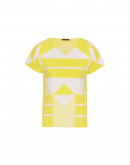 SYNERGY: Yellow and white geometric pattern tech-knit t-shirt