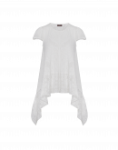 ROTATE: Ivory seamless knit t-shirt with lace hem